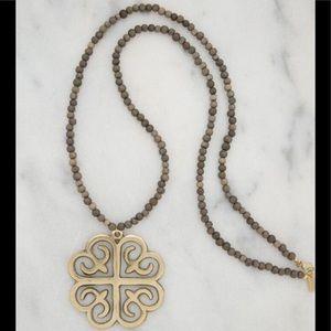 NWT Stone + Stick handmade wood & brass Necklace